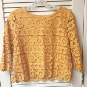 Yellow Gold Boho Floral Lace Embroidered Crop Top